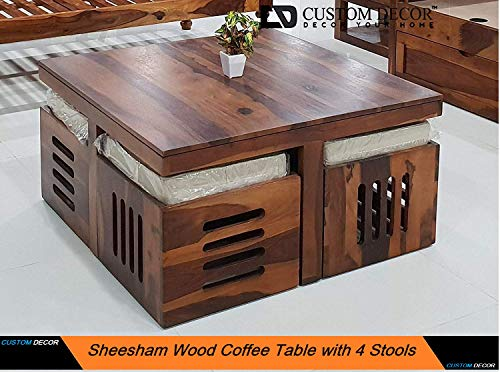 Custom Decor Wooden Coffee Table with 4 Stools for Living Room   Matt Polish Finish, with Cushion