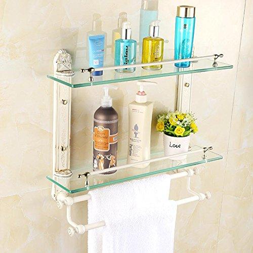 Weiße Badezimmer Wand Glas Regal Bad 2 einlagige Glas Rack-Stil Kosmetik Mount mehrschichtige Handtuchhalter Arm Swing Out Mount