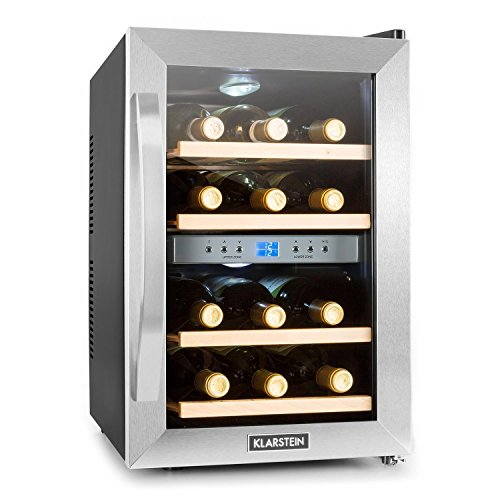 Klarstein Reserva • Weinkühlschrank • Getränkekühlschrank • 34 Liter • 12 Flaschen • 4 Regaleinschübe • niedriges Betriebsgeräusch • 2 Zonen • Temperaturbereich: 07° - 18° C • LED-Display • LED-Innenbeleuchtung • Gummifüße • Glastür • schwarz-silber