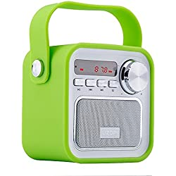 Altavoz Portátil con Radio FM (Bluetooth, 5W, 2200mAh, Micrófono Incorporado, AUX entrada, Subwoofer inalámbrico al aire libre) Altavoces recargable, USB entrada, lector de tarjeta de memoria, Aporta Manos Libres para correr y viajar , para smartphones, tablets y MP3