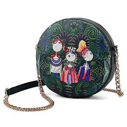 Ldyia Damentasche rund Damentasche Blume Minitasche rund Umhängetasche Schulter kleine runde Tasche, grün