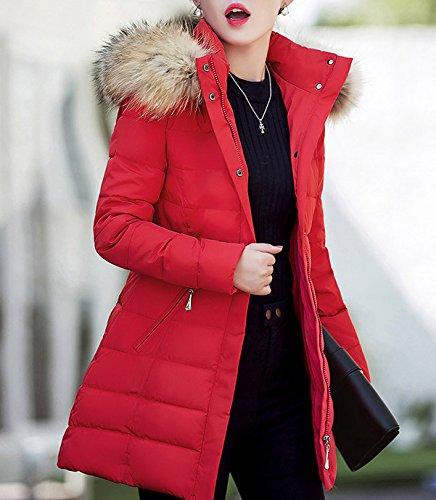 Arkind Giacca con cappuccio Donna Giacca a manica lunga con cappuccio Giacca con cappuccio Slim Parka giubbotto Autunno Inverno Caldo Pelliccia Faux Elegante Rosso