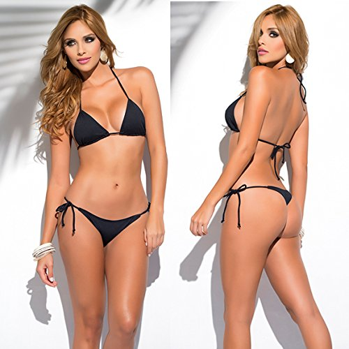 SHERRYLO 10 Solid Color Women's Thong Bikini Set String