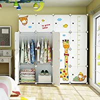 Koossy Expandable Clothes Closet Wardrobe Cupboards Armoire Storage Organizer with Giraffe Stickers, Capacious & Sturdy 16 Cube White, 147 x 47 x 147 cm