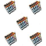 Prestige Cartridge PGI-520/CLI-521 Lot de 25 Cartouches d'encre compatible avec Imprimante Canon Pixma MP540, MP540x, MP550, MP560, MP620, MP620b, MP630, MP640, MP980, MP990, MX860, MX870, iP3600, iP3680, iP4600, iP4680, iP4700, Noir/Noir Photo/Cyan/Magenta/Jaune