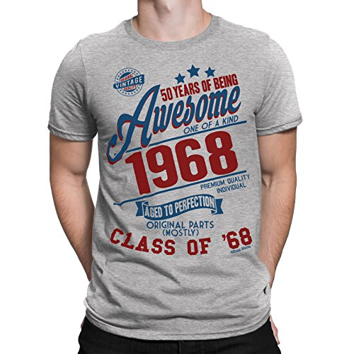 Buzz Shirts 50 Years of Being Awesome Hombres 50th Camiseta Class of 1968 Regalo di Compleanno da
