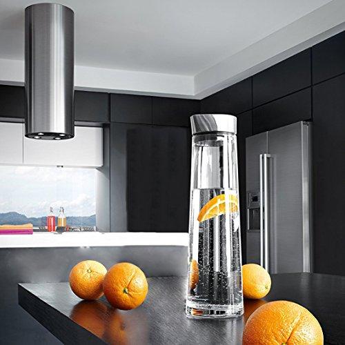 Preisvergleich Produktbild DOOTEE Glaskaraffe Glaskanne Karaffe Wasserkanne Wasserkrug Glaskrug 1,5 Liter aus Borosilikatglas mit Edelstahldeckel