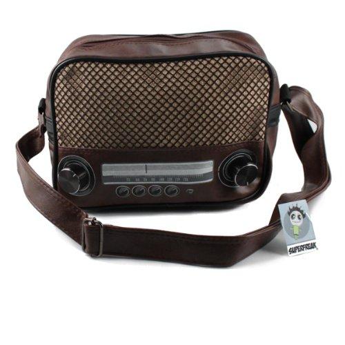 """Superfreak® Tasche """"Radio"""" Umhängetasche Radiotasche klein, Farbe: Braun-dunkel – Drehregler schwarz"""