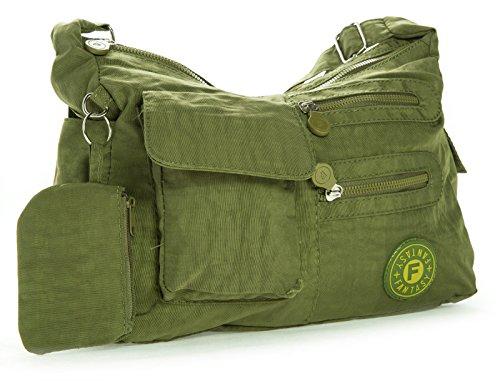 Big Handbag Shop di dimensioni medie borsa a tracolla Unisex in plastica Pouch Verde (Olive grün)