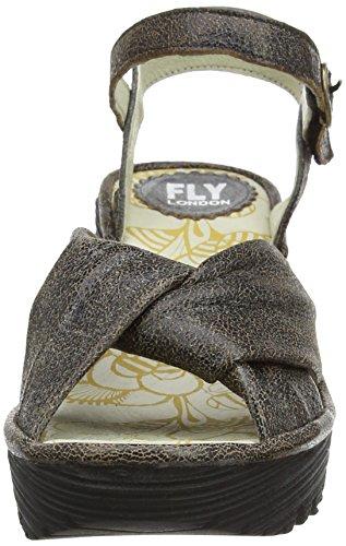 FLY London Yesh712, Sandales Compensées Femme Gris (Slate 015)