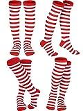 SATINIOR 4 Pares de Calcetines de Rodilla a Rayas Coloridas de Mujeres Chicas Calcetines Altos de Bruja (Colores de Rojo y Blanco)