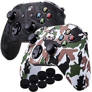 YoRHa Wassertransferdruck Silikon Hülle Abdeckungs Haut Kasten für Microsoft Xbox One X & Xbox One S controller x 2 (grau&weiß) Mit PRO aufsätze thumb grips x 8