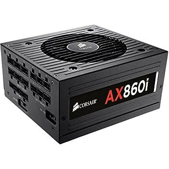 Corsair CP-9020037-EU AX Serie AX860i ATX/EPS Voll Modular 80 PLUS Platinum 860Watt Digital, Netzteil, EU