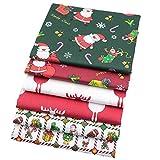 6 pièces de Noël Style grands carrés pour patchwork Lots, 46 x 56 cm Top Tissu de coton pour quilting Couture Patchwork, 18' x 22'