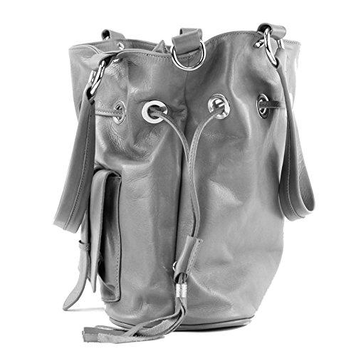 modamoda de - ital. Ledertasche Damentasche Handtasche Schultertasche Nappaleder DS53 Schwarz/Camel