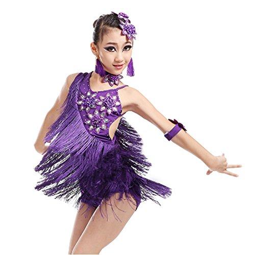 Yefree Latin Dance Kleid Mädchen Quaste Kleid Ballsaal Salsa Tanzabnutzung Party Dance Kostüm ()