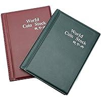 Beito Álbum de almacenamiento para monedas, 120 compartimentos, colección de libros, color verde