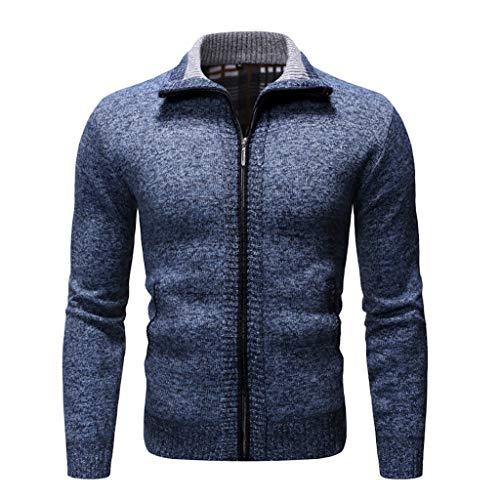 Wawer, Männer, neuester Stil, Reißverschluss, robust, Cardigan-Pullover, für Herbst und Winter, lässig, einfach, für den Alltag, warm, modisch, Reverskragen, dünner Mantel, bequemer Mantel XL marine