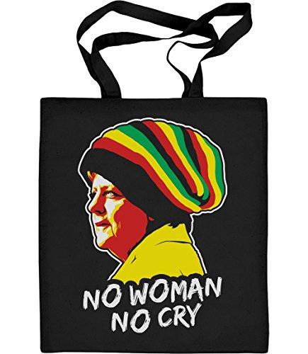 Shirtgeil Coole Jamaika Merkel in Reggae Mütze - No Woman No Cry Jutebeutel Baumwolltasche One Size ()