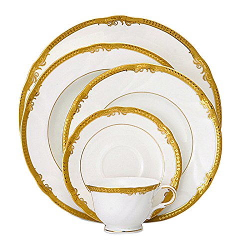 SHINEPUKUR 5 Piece Ivy-Gold Bone China Place Settings by Shinepukur Ivy Bone China