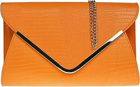 H&G Mesdames animaux Croc impression enveloppe plate soirée pochette - Orange