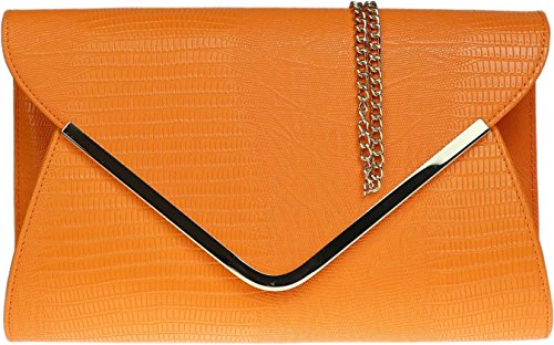 Ladies animale Croc stampa busta piatta sera pochette - Beige Orange