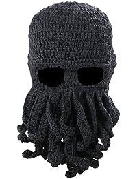TRIXES - Unisex Máscara/Sombrero de Punto - Pasamontaña Tejido - Creativo Gorro de Esquí - con Tentáculos/Barba / Bigote - Solo Tamaño - Cthulhu - para Otoño y Invierno