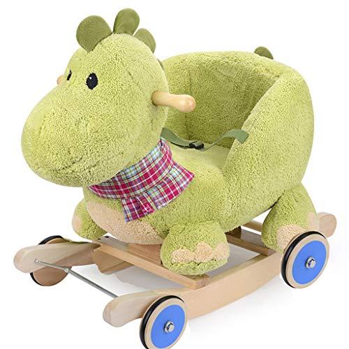 YULAN Kinder Holz Pferd Feste Schaukelpferd Spielzeug Baby Dinosaurier Schaukelstuhl Alter Geschenk Wagon Cartoon Nette Sichere Holz (Color : with Rubber Wheel) -