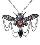 Collana argento ciondolo scarabé con ingranaggi pietre e catene Steampunk