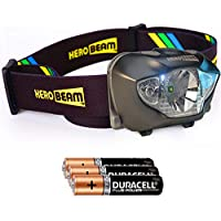 HeroBeam LED Head Torch - Best Pocket-Sized Headlamp for Running, Dog Walking, Fishing, Biking, Camping, Watching Nature, Reading, Cycling or DIY - White/Red Lighting Modes - Lightweight, Comfortable and Weatherproof - includes DURACELL Batteries - 5 YEAR WARRANTY
