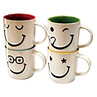Invero® Set of 4 Large 11oz Stoneware Printed Funny Faces Mugs Cups ideal for Tea, Coffee, Latte, Hot Chocolate, Gifts and more