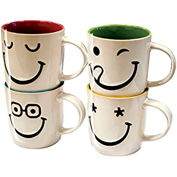 6 Homezone/® Set of 6 White Funny Faces Emoji Tea Coffee Mugs Cups Novelty Home Office Gift Hot Chocolate Drinking Mugs