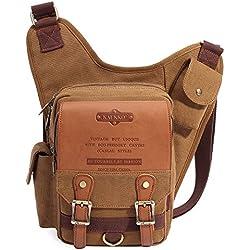 KAUKKO retro bolsa de mensajero para chico y Hombres 34cm*9cm*36cm(L*W*H) Caqui