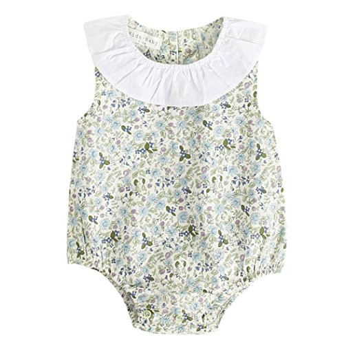 SHOBDW Girls Rompers, Newborn Infant Baby Lovely Floral Print Sleeveless Peter Pan Collar Summer Beach Party Outfits Birthday Gifts