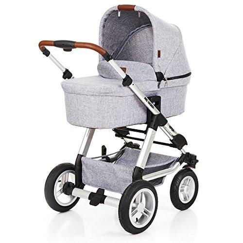 ABC Design Viper 4 - Kombikinderwagen mit Lufträdern - Komplett-Set 2in1 - inkl. Babywanne & Sportwagen (Graphite Grey)