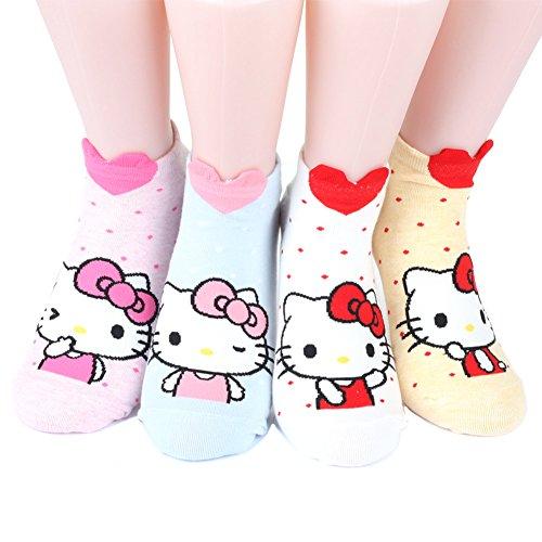 KIKIYA SOCK Hello Kitty Series Women's Original Socks 4 pairs (4 color) =1 pack Made in Korea (Hello Kitty Socken)