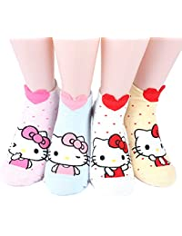 Hello Kitty Series Women's Original Socks 4 pairs (4 color) =1 pack Made in Korea 02
