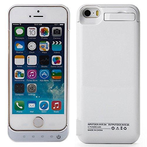 Kranich® 4200mah Externe Akku-Deckel Akkuhülle Batterie Hülle Case Hülle Power Pack Akku Backup Cover Zusatzakku Halterung für iphone 5 / 5S / 5C (Weiß) (Power Pack 5c)