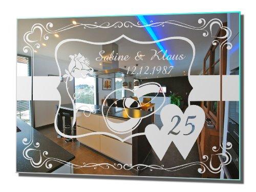 Motivspiegel Silberhochzeit 4 silberne Hochzeit Geschenk Wandspiegel Spiegel mit Gravur Wandbild (30x40cm)