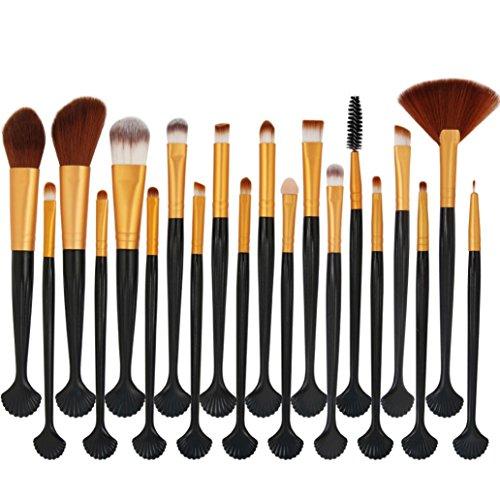 Honestyi 20pcs Set de pinceaux cosmétiques Kit complet Brosses de fard à joues Pinceaux d'ombre à paupières (F)