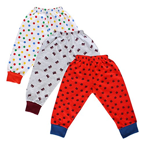 Tiddlee Baby Kids Clothes - for Girls and Boys - Children Combo set - Pack of 3 Printed Multicolour Pajama Pants / Legging / Pajami / Lower / Trouser / Pyjama with colored Rib - Soft & 100% hosiery cotton - Multi-color - Child Skin friendly, Durable & High Quality Coloured Clothing Apparel - (12-18 months) - (1-1.5 years)  available at amazon for Rs.299