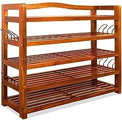 Zapatero elegante de madera dura de acacia de estilo colonial - 5 baldas - Acabado de gran calidad - Medidas: (ancho x fondo x alto) 95 cm x 26 cm x 82 cm