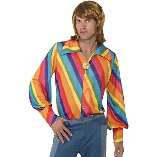 NEU Herren-Hemd Rainbow-Hippie, Gr. (Rocknroll Kostüme König)