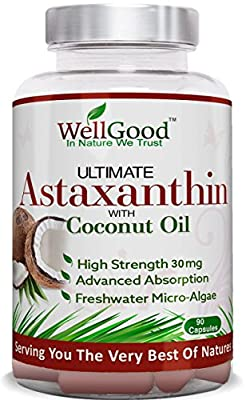 Natural Potent Astaxanthin 30mg with Coconut Oil - 90 Capsules - Highest Strength - Vegan & Vegetarian Friendly - by WellGood