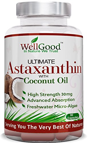 Astaxanthine naturelle 30mg d'huile de noix de coco - Vegan 90 Capsules - plus haute résistance - Natures plus puissant antioxydant ! -Repas végétariens amical - de WellGood - ** spécial lancement de prix un jour seulement !