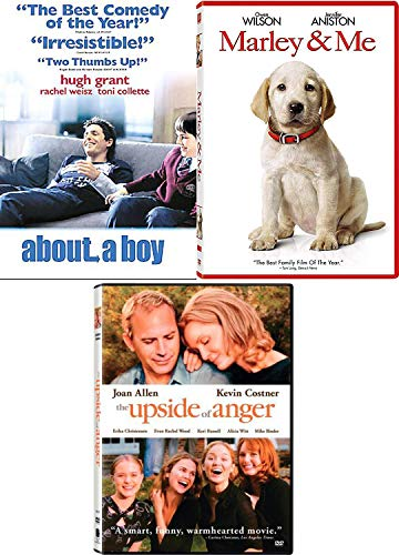 Boy Dog & Anger Movies 3 Pack Marley & Me / About a Boy Hugh Grant / The Upside to Anger Kevin Costner Feature Film Pack