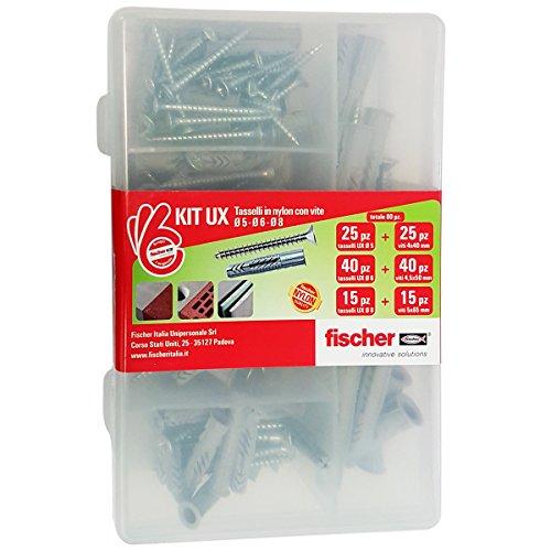 Fischer 544257 Kit UX Tasselli con Vite per Fissaggio su Muro Pieno, Trasparente