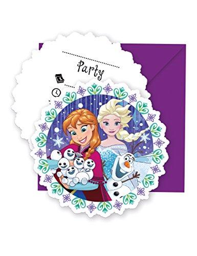 Umschlag Die Eiskönigin 6 Stück Bunt-Violett Einheitsgröße (Geburtstags Kostüm Party Einladungen)