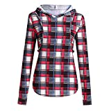 Voberry Women Mom Pregnant Nursing Baby Maternity Plaid Hoodie Tops Blouse Clothes