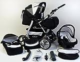3 in 1 Kombikinderwagen Komplettset VIP – inkl. Kinderwagen, Babyschale und Sportwagen Aufsatz – 1. ALU Hartgummi Bereifung – 19. Schwarz-Weis